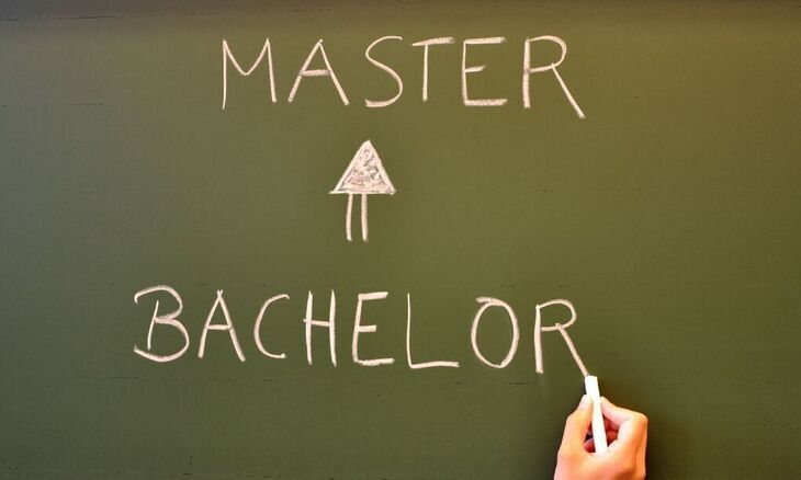 Bachelor to Master written on chalkboard